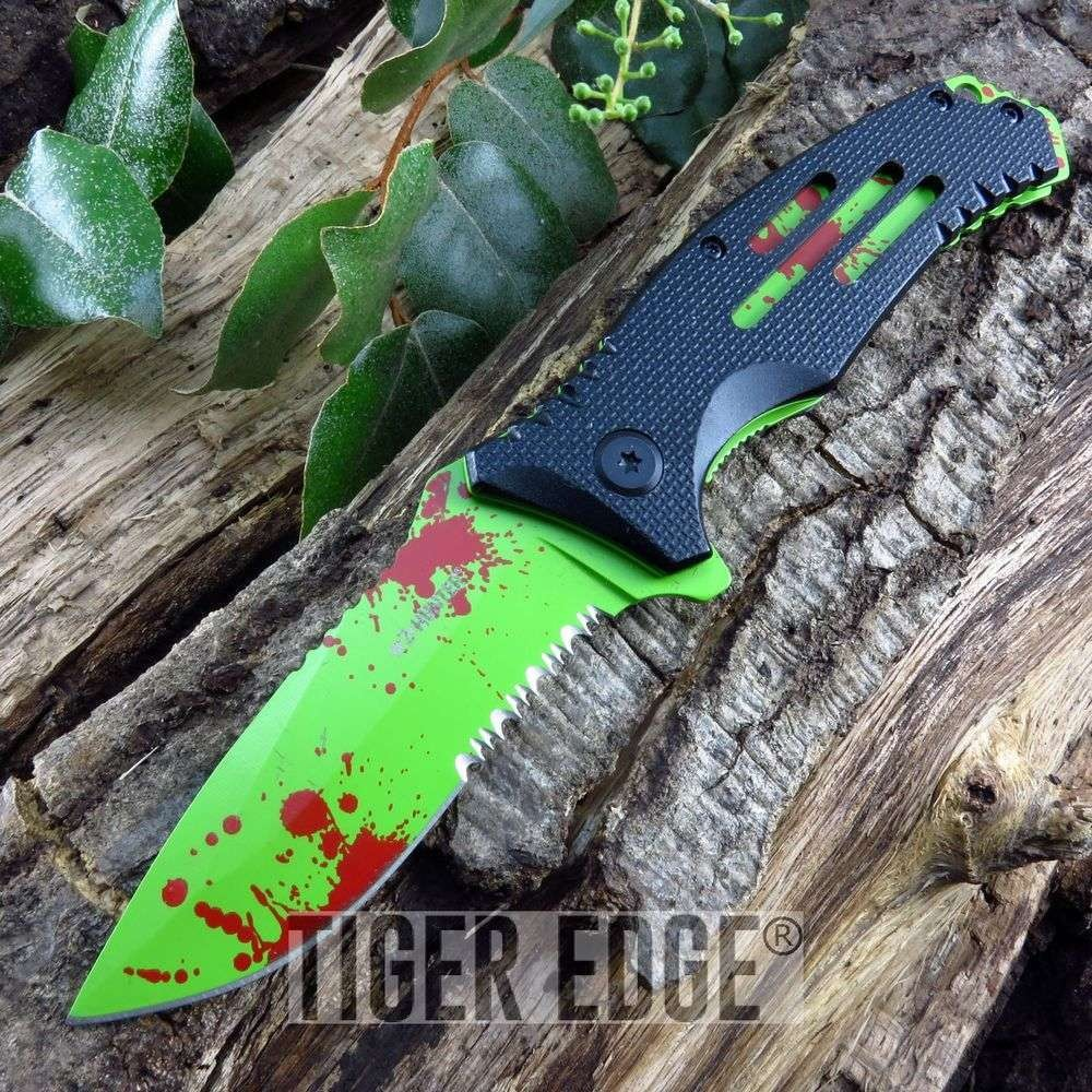 Black & Green Serrated Tactical Zombie Folding Pocket Knife Spring Assisted