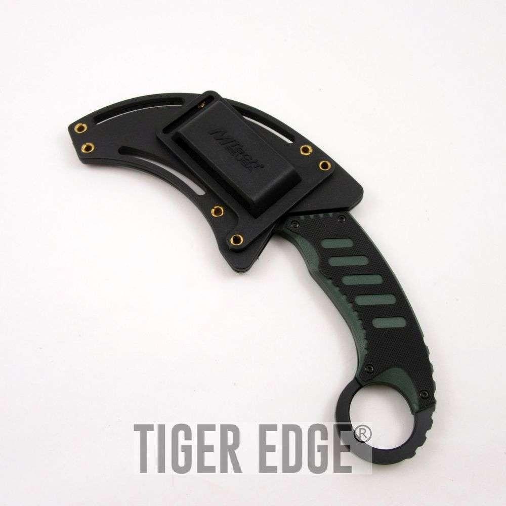 Mtech Cleaver: Mtech Black & Green Karambit Neck Knife Combat Fixed Blade