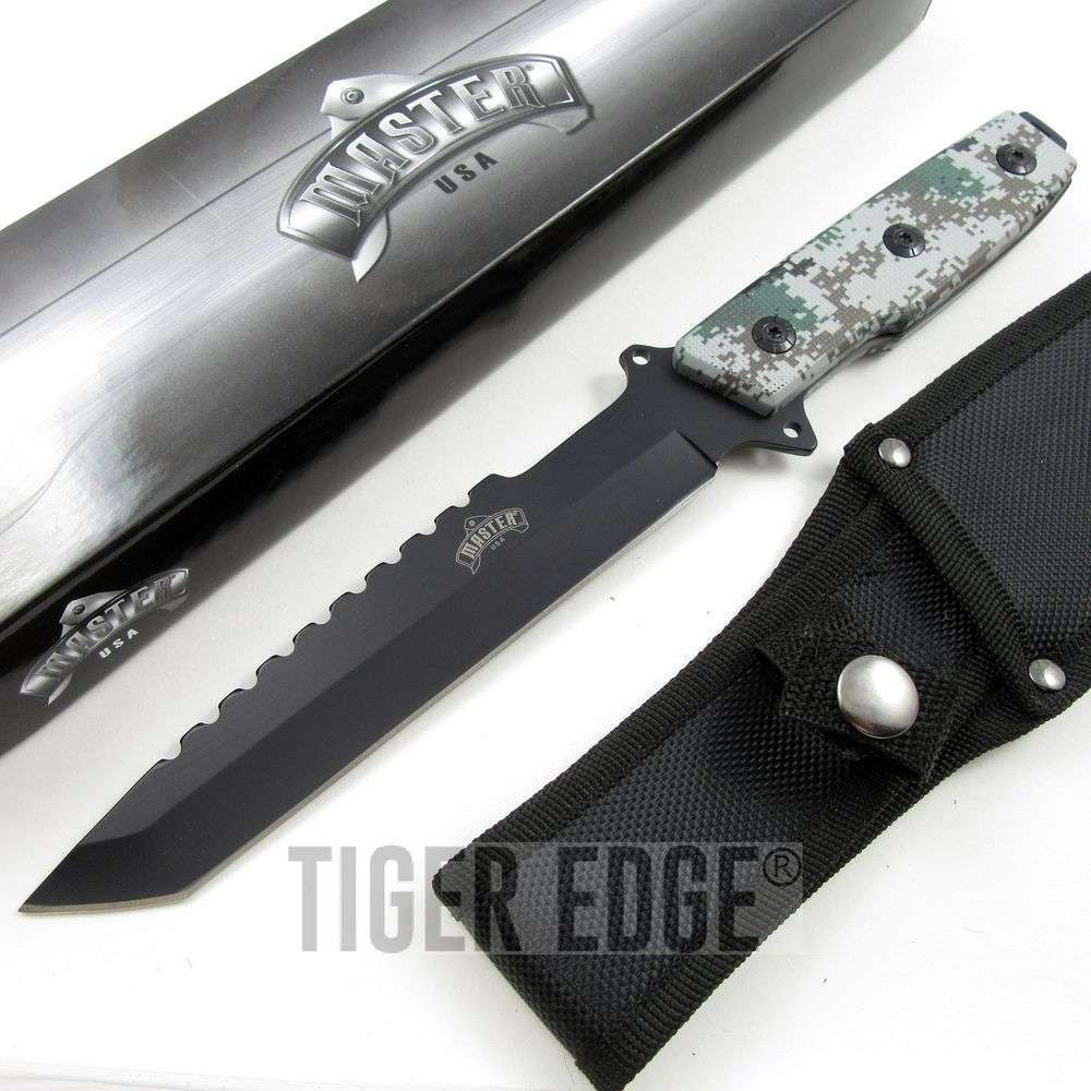12 quot army digital camo fixed blade tang tactical knife with sheath