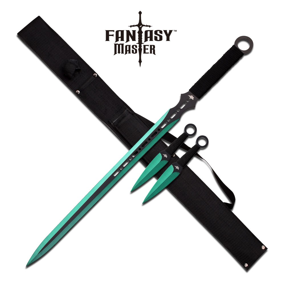 NINJA SWORD SET | Black Green Blade Double Edge + 2 Kunai ...
