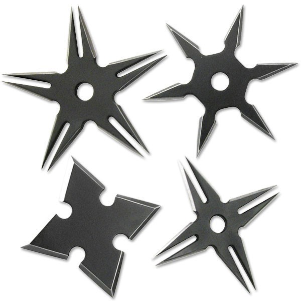 Four Pack Ninja Throwing Star Set Black Manga Shuriken