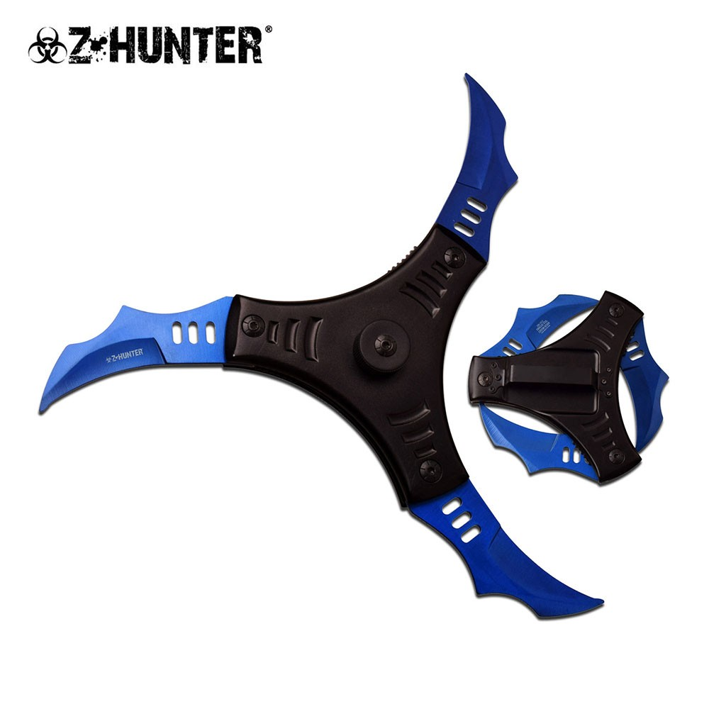 Blue Star Blade Reviews >> SPRING-ASSISTED FOLDING KNIFE | Z-Hunter 3-Blade Blue Black Shuriken Ninja Star