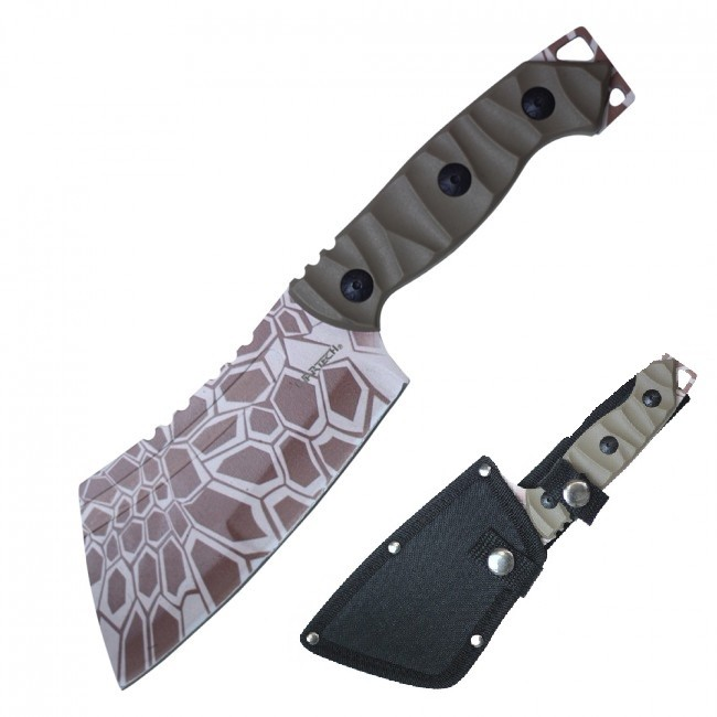 "Tactical Knife | Wartech 9.5"" Overall Full Tang Tan Military Combat Cleaver"