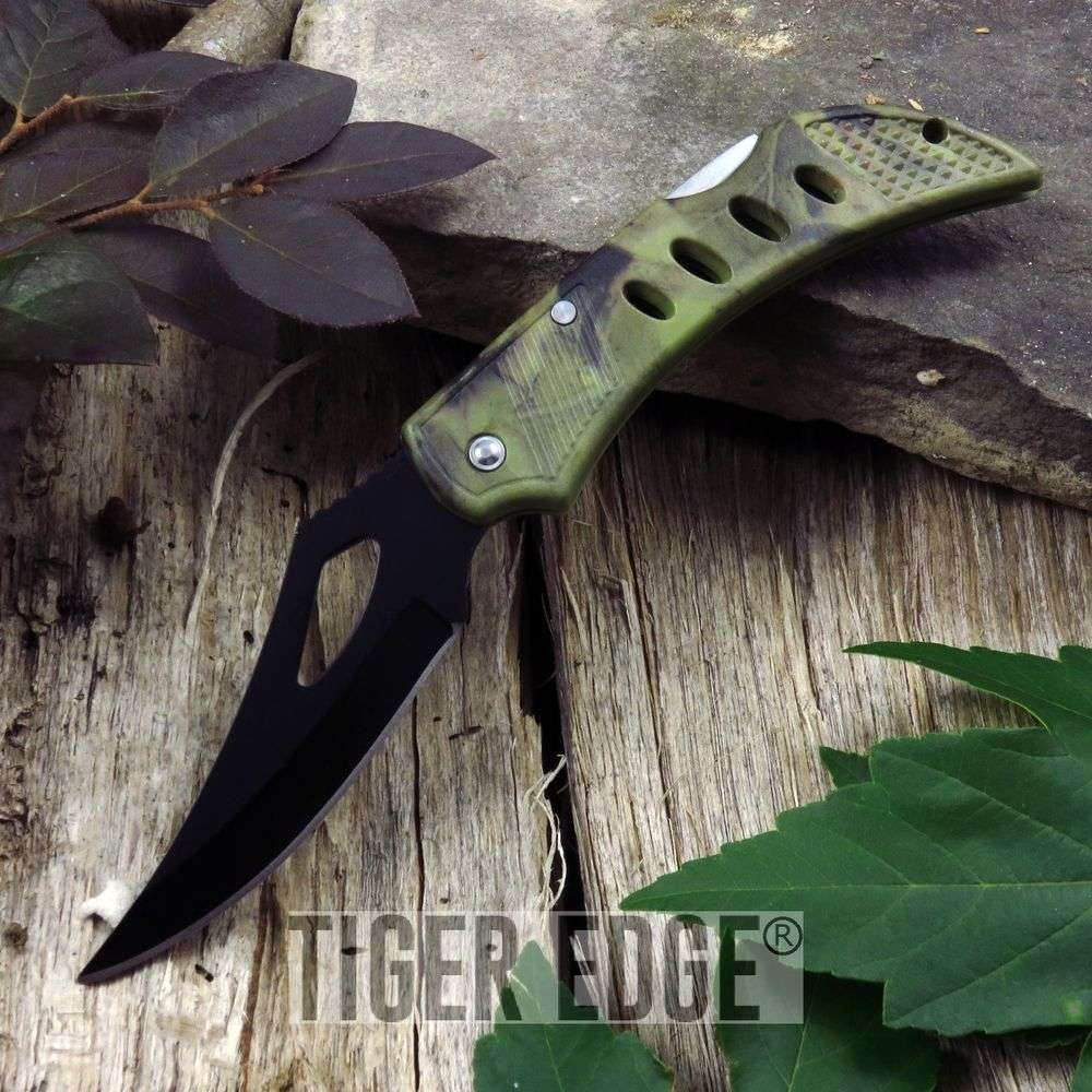 "Folding Pocket Knife 4"" Forest Camo Black Blade Tactical Edc Army Green 210875"