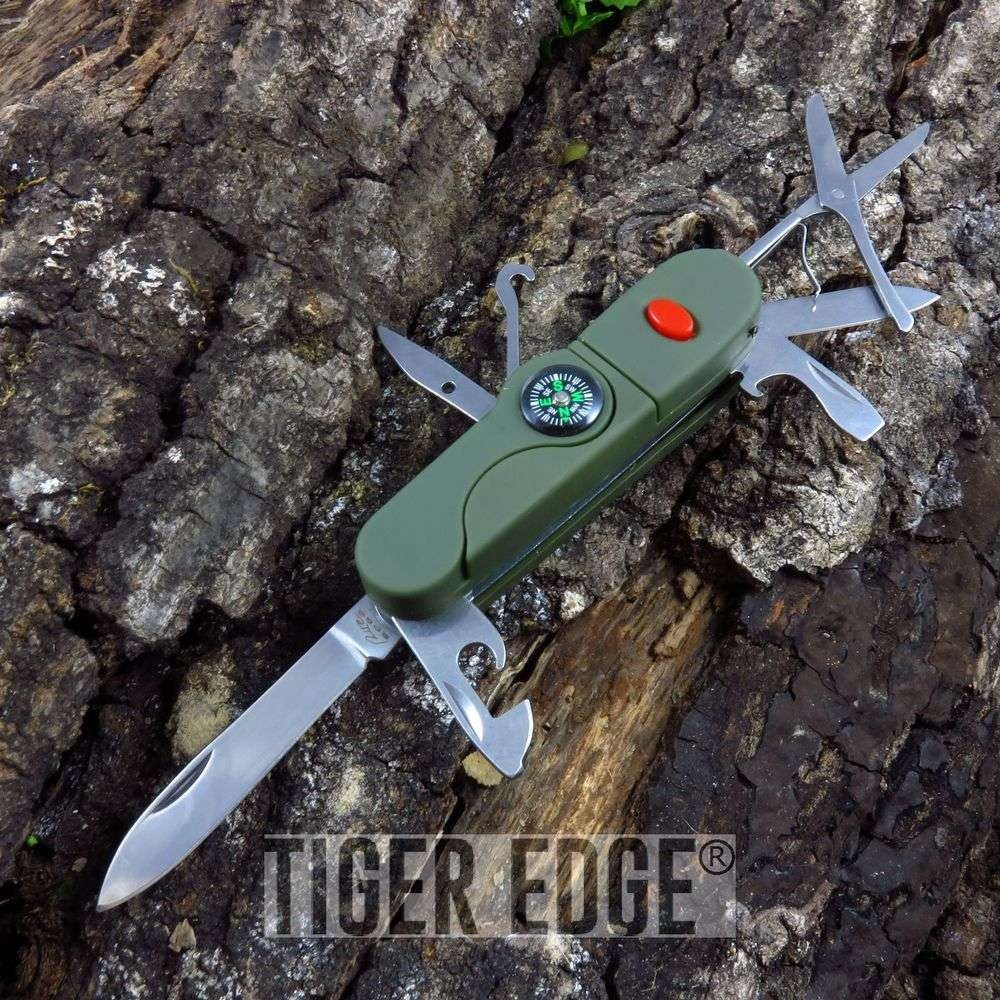 "4"", Ultimate Camper 13  Multi-tool Folding Knife w/ LED Light and Compass"