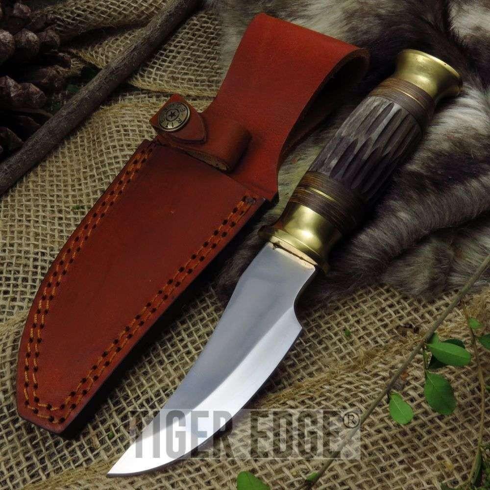 Fixed Blade Hunting Knife Brown Bone Full Tang Silver Skinning Blade Sheath