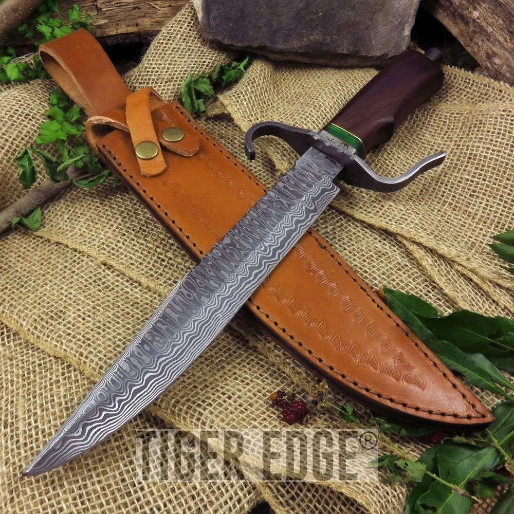 "16"" 256 Layer Damascus Steel Rosewood Bowie Hunting Knife w/ Leather Sheath"