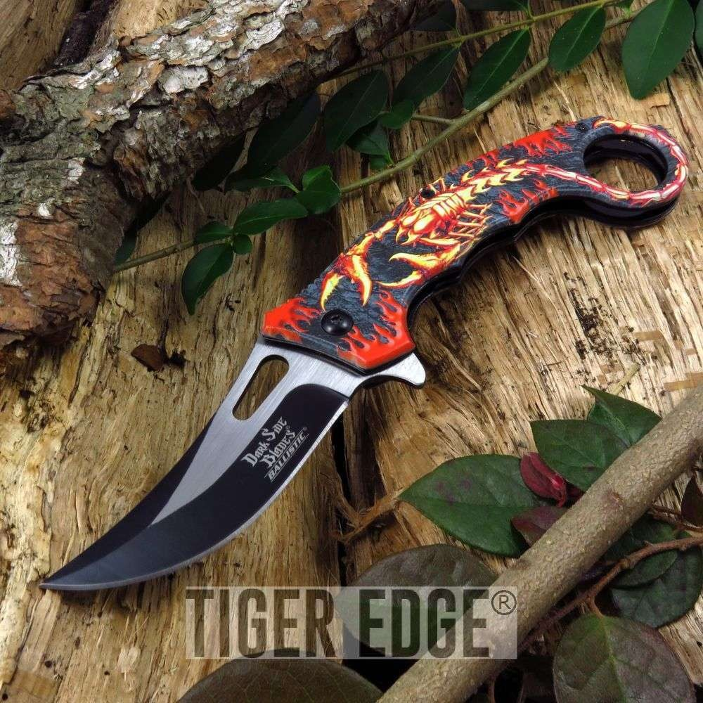 Spring Assist Folding Pocket Knife Red Black Flame Scorpion Fantasy Karambit