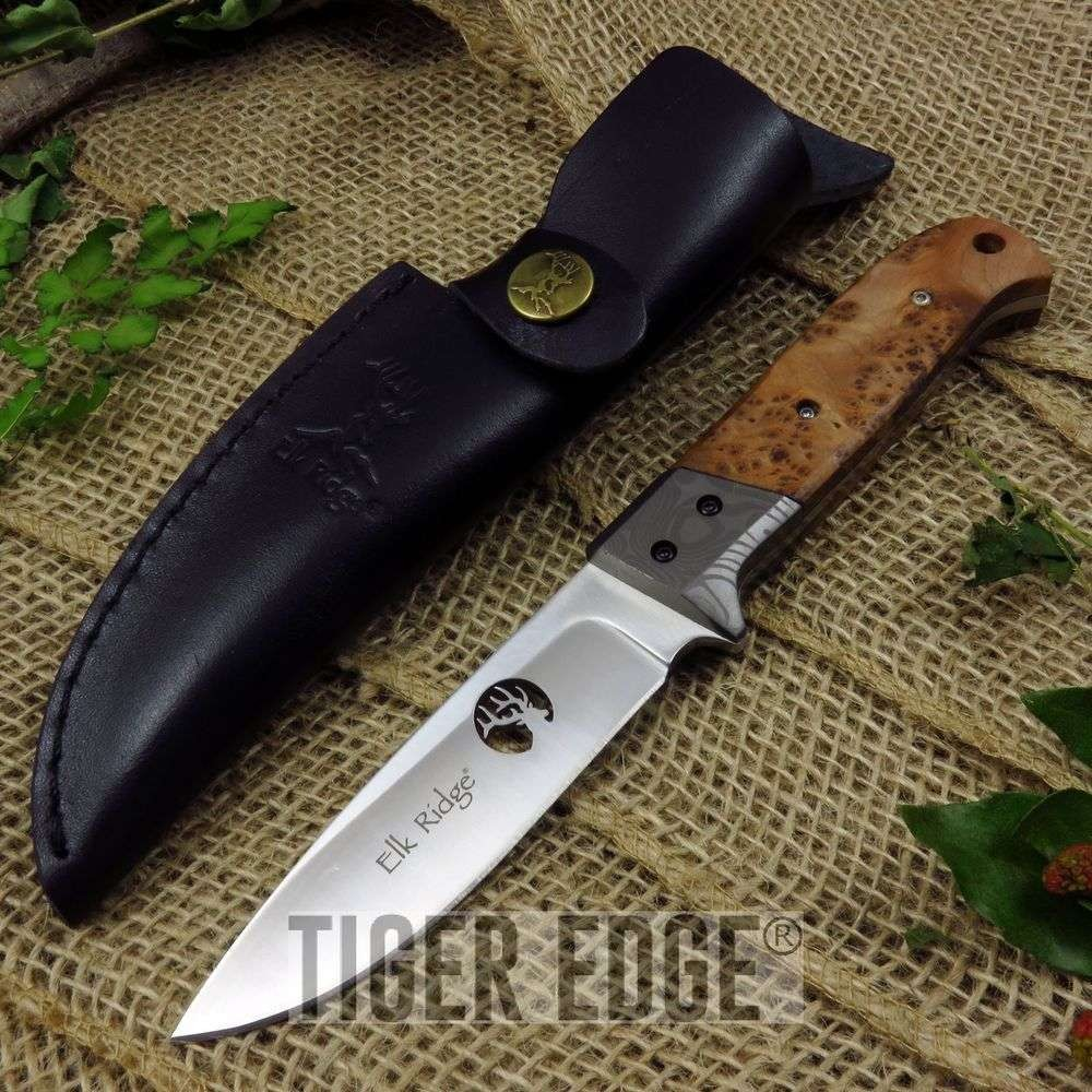 "Fixed-Blade Hunting Knife Elk Ridge 8"" Burl Wood Skinner Blade + Leather Sheath"