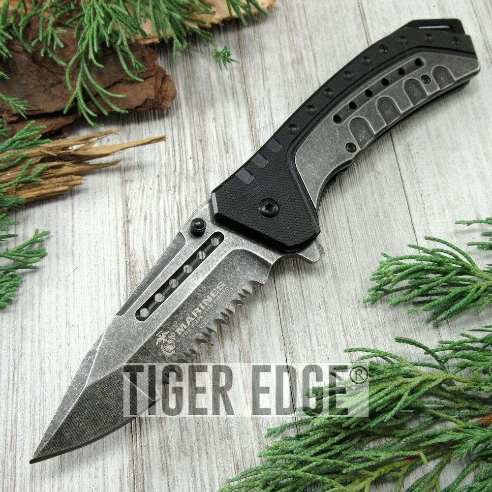 SPRING-ASSIST FOLDING POCKET KNIFE Mtech USMC Marines Gray Serrated Blade  Black