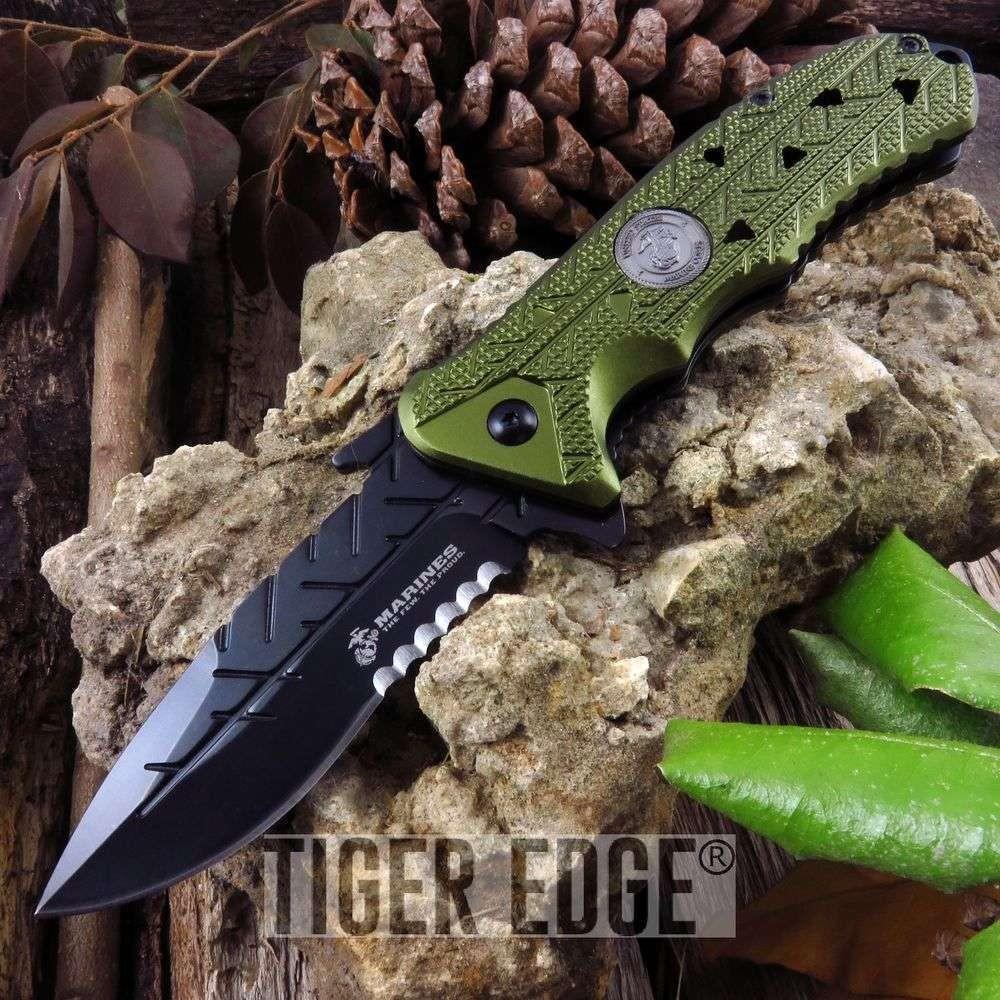 SPRING-ASSIST FOLDING POCKET KNIFE USMC Official Serrated Green Tactical  Blade