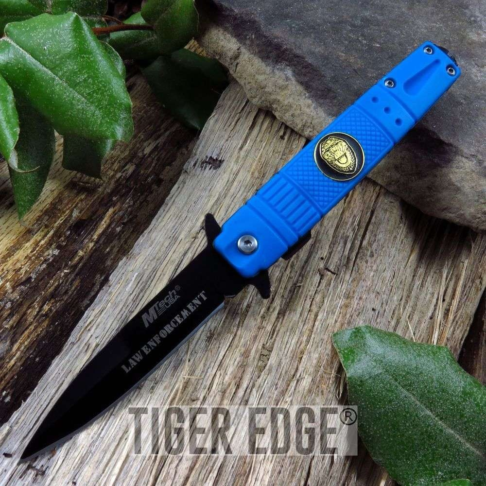 "Mtech 4"" Closed, Stainless, Blue Rubber Handle Police Folding Knife"