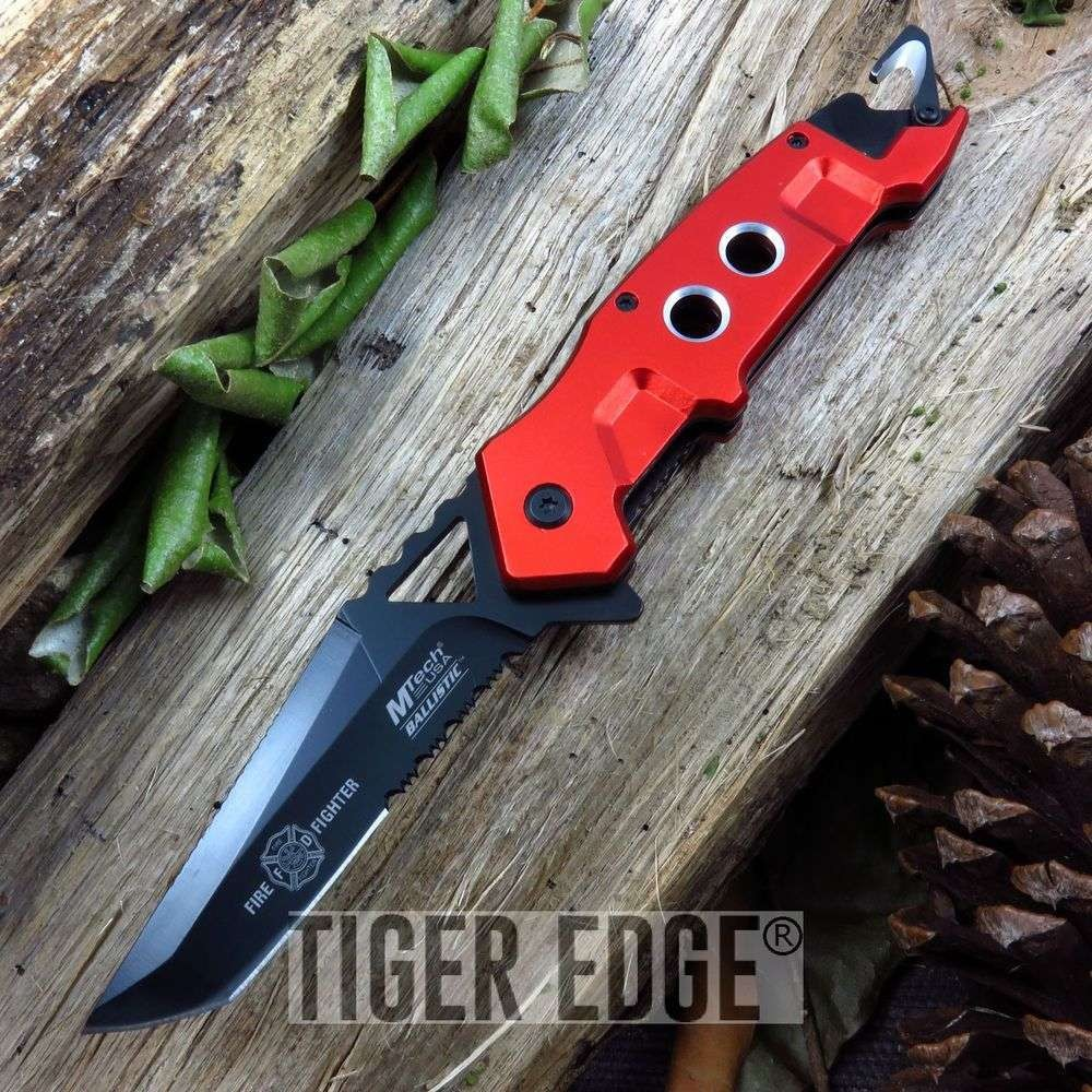 Mtech Red Fire Fighter Serrated Tactical Rescue Spring Assist Folding Knife