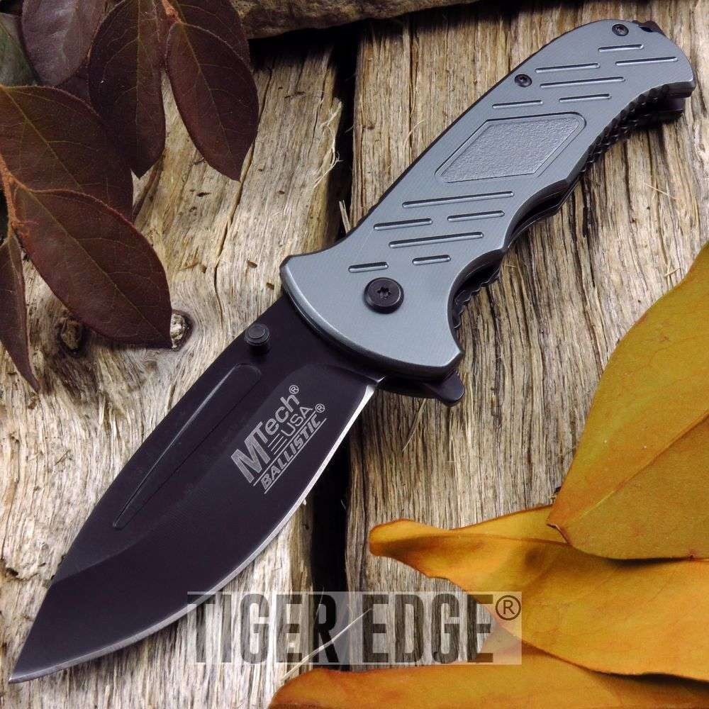 Spring-Assist Folding Pocket Knife Mtech Gray Tactical Black Blade Edc Mt-A875Gy