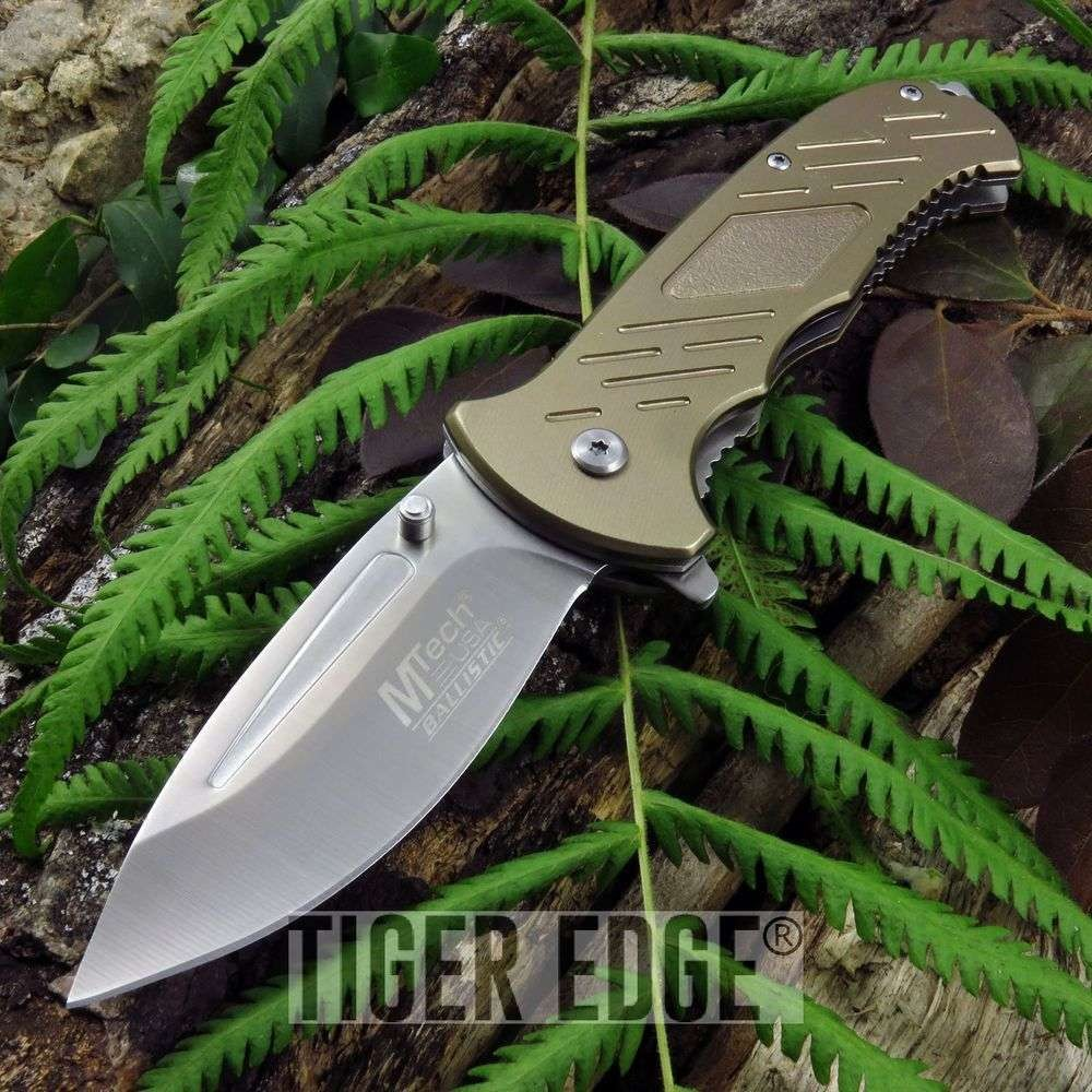 Spring-Assist Folding Pocket Knife Mtech Tan Tactical Blade Edc Mt-A875Tn