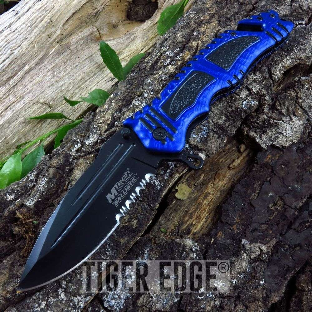 Mtech Tactical Spring-Assist Rescue Folding Knife Blue Everyday Carry