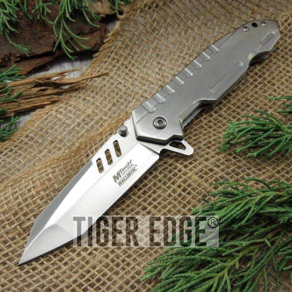 Spring Assisted Folding Pocket Knife Mtech Heavy Duty Silver Tanto Blade Tac