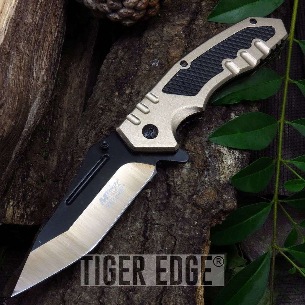 Spring Assist Folding Pocket Knife Mtech Black Tan Rescue Tactical Edc Mta929Tn