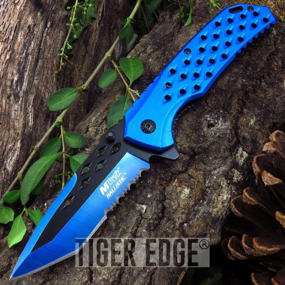 Spring-Assist Folding Pocket Knife Mtech Blue Tanto Everyday Carry Tactical Edc