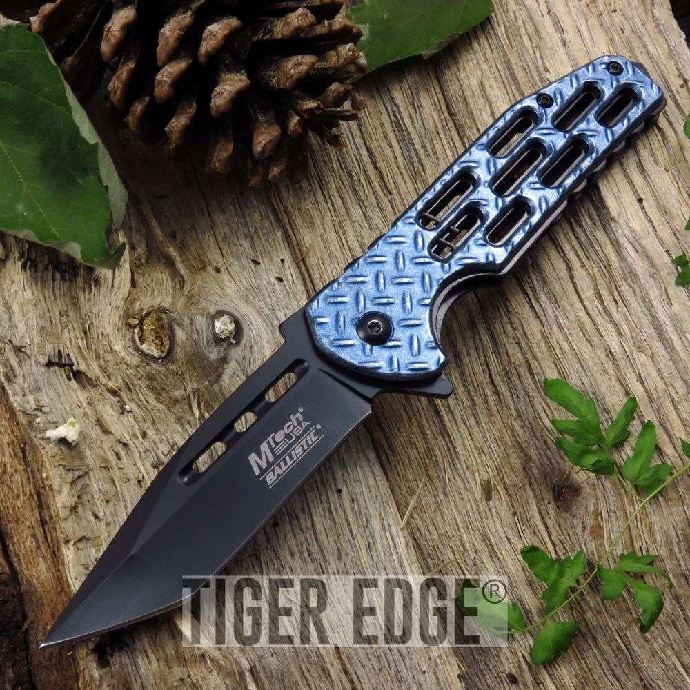 Spring-Assist Folding Pocket Knife Mtech Blue Diamond Tread Tactical Tanto