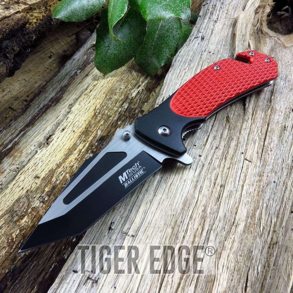 Spring-Assisted Folding Pocket Knife | Mtech Red Black Tactical Rescue Tanto Edc