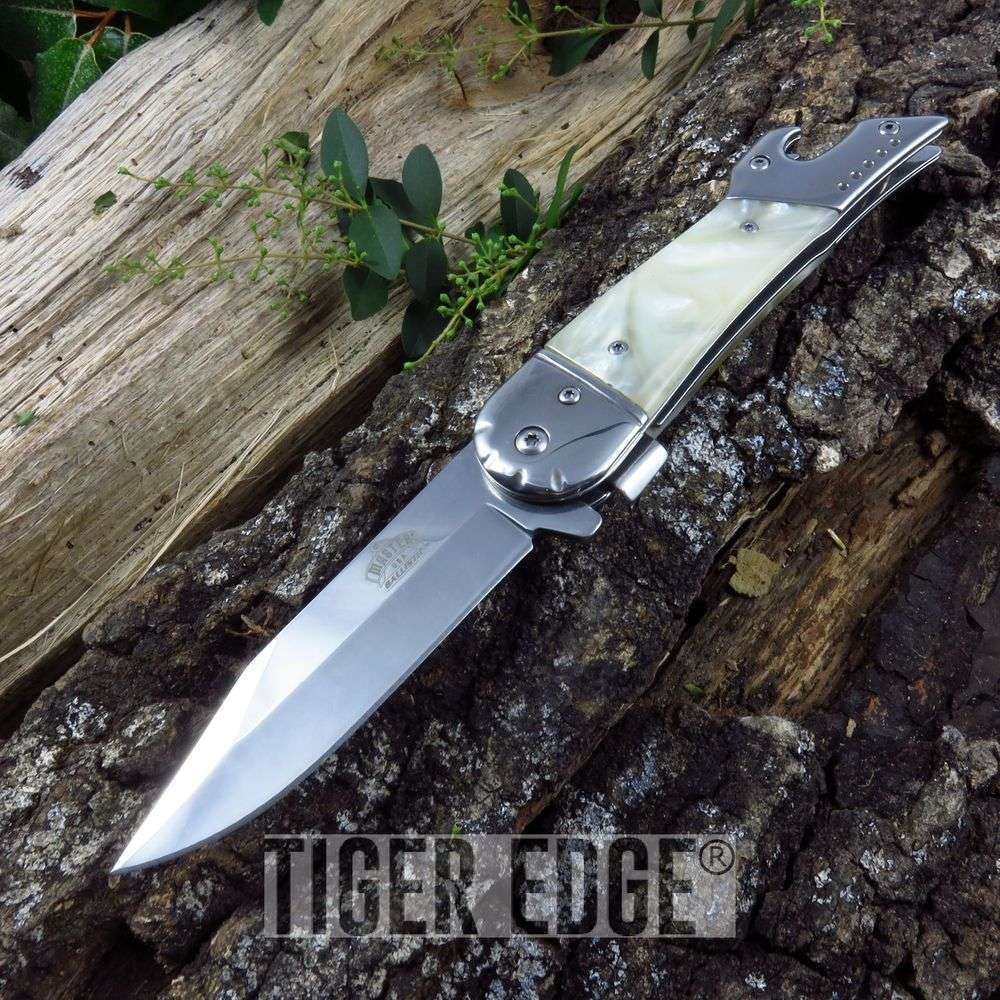 Tac-Force High-Heel Leg Lady Girl Women Pearl Spring-Assisted Folding Knife
