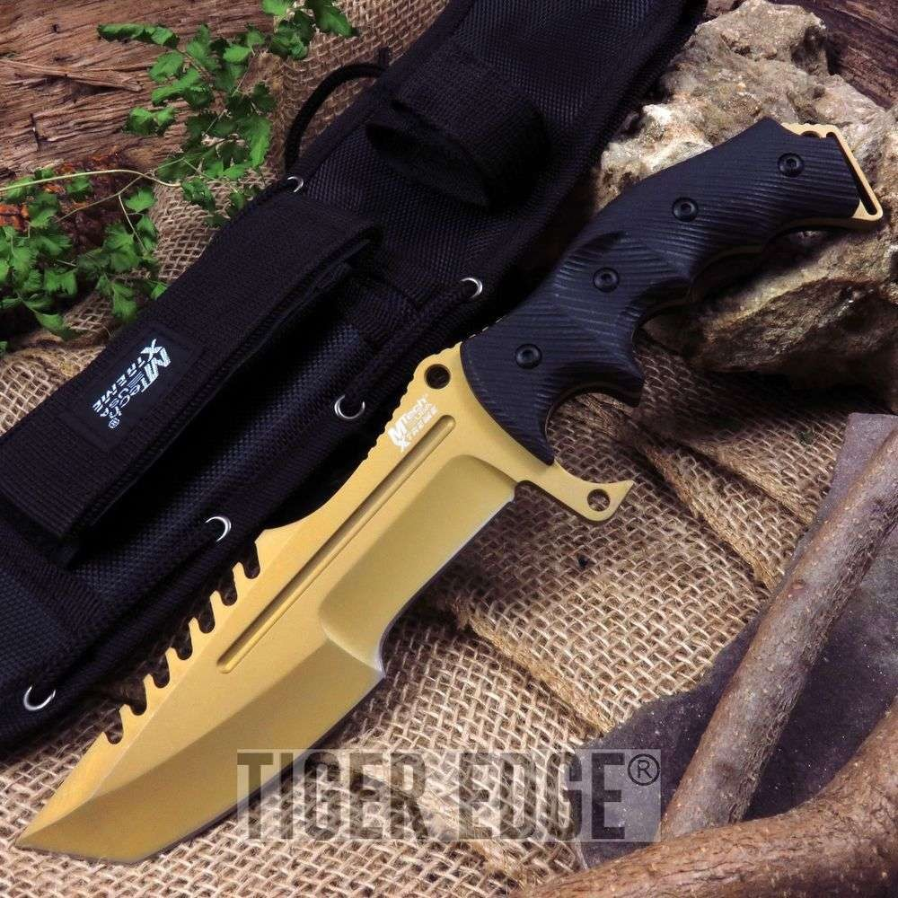 Fixed-Blade Tactical Knife | Mtech Heavy Duty Military Combat Gold Tanto Blade