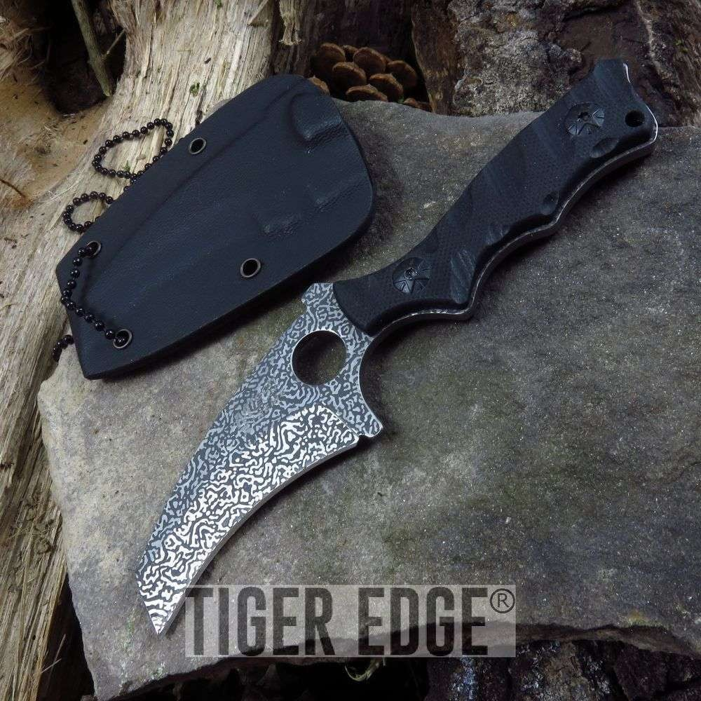 Mtech Faux Etched Damascus Full Tang Tactical Neck Knife W/ Kydex Sheath