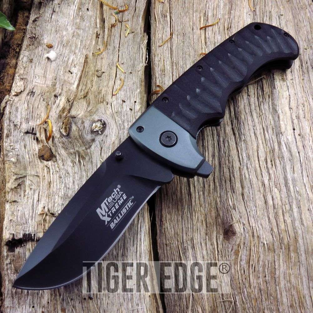 Mtech Heavy Duty Black Silver Spring Assist Folding Knife Ergonomic G10 Edc