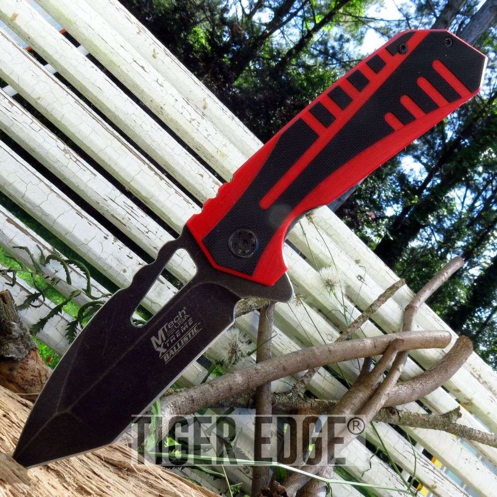 Mtech Tactical Spring-Assist Folding Knife Black/Red Tanto Everyday Carry