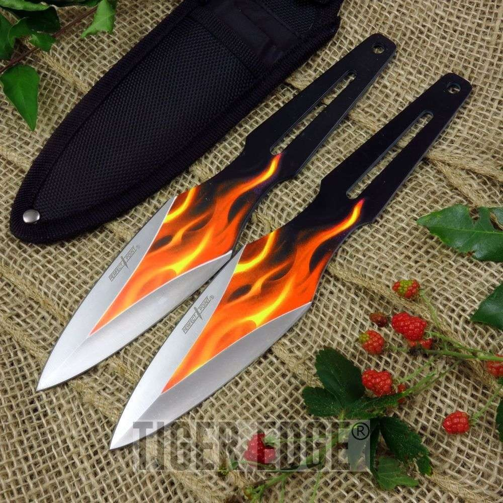 Throwing Knife Set | 2 Piece Black Fire Orange Flames Kunai Throwers With Sheath