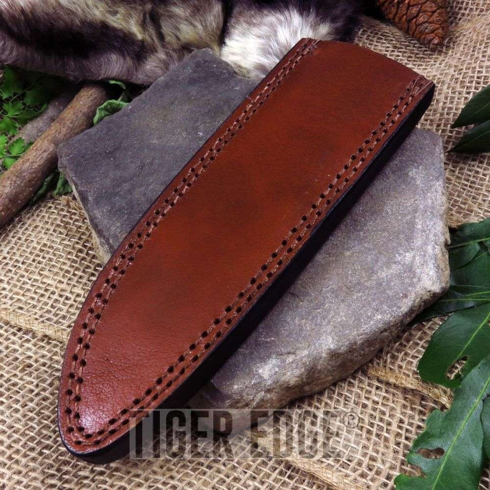 "Fixed-Blade Knife Belt Sheath Brown Leather 8.25"" - Fits Up To 10.5"" X 2"" Blade"
