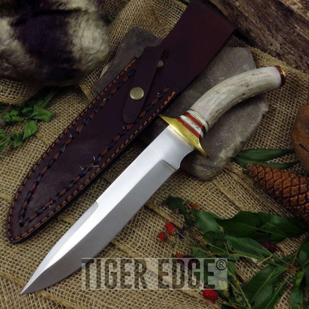"Fixed-Blade Bowie Knife | 13"" Stag Handle Brass Frontier Blade W/ Leather Sheath"