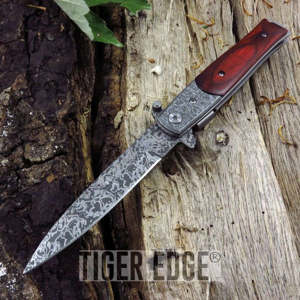Tac-Force Damascus-Style Stiletto Spring Assist Folding Knife Brown Wood Edc