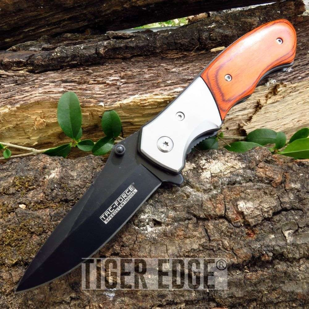 "7"" Tac-Force Wood Handle Spring-Assisted Folding Knife"