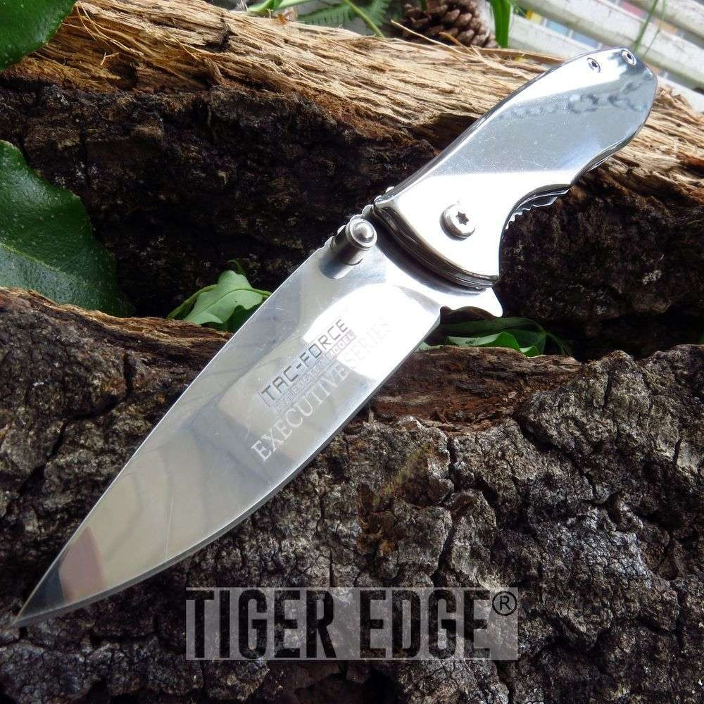 "6.75"" Tac-Force Executive Mirror Finish Blade Spring-Assisted Folding Knife"