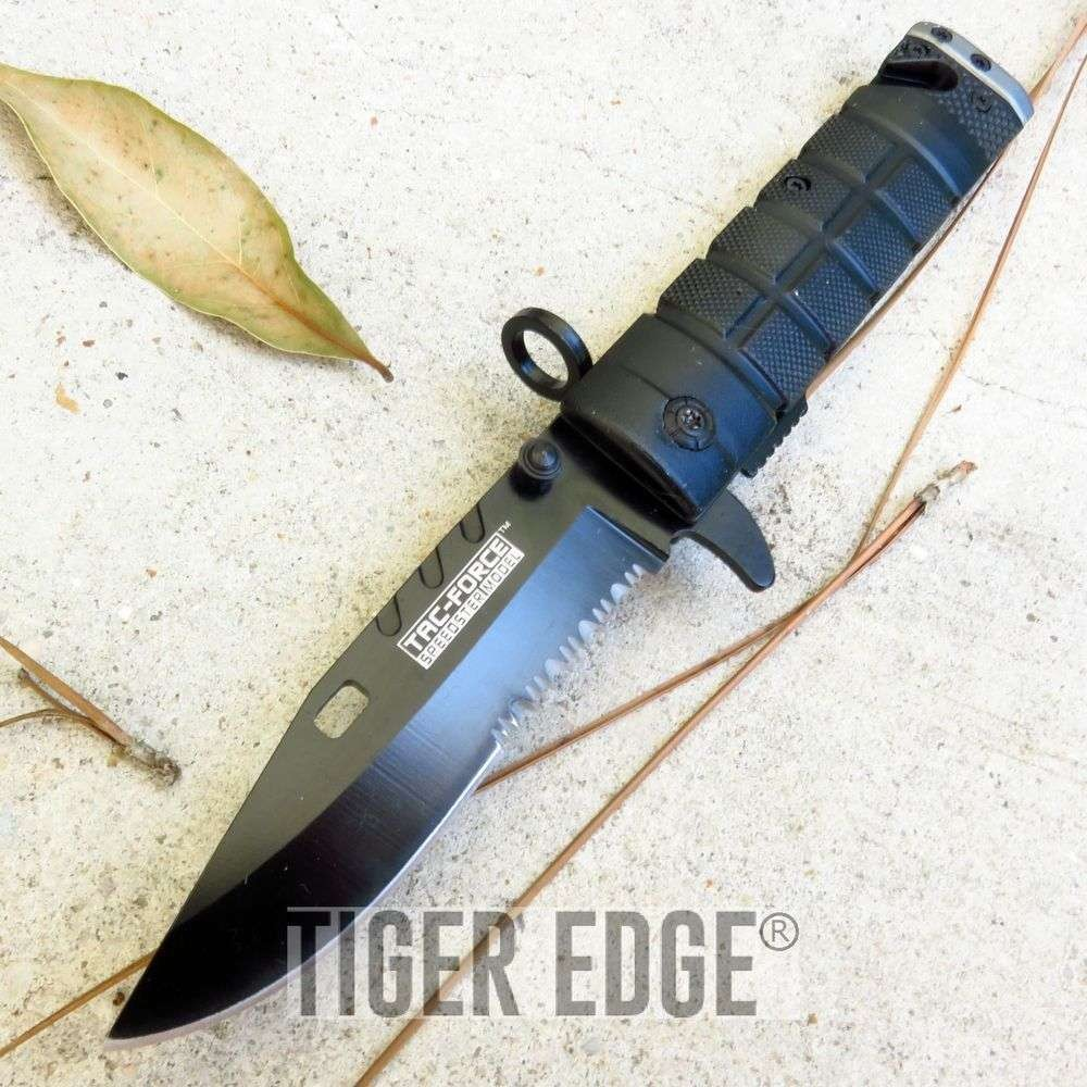 Tac-Force Black/Grey M9 Bayonet Style Spring Assisted Folding Knife