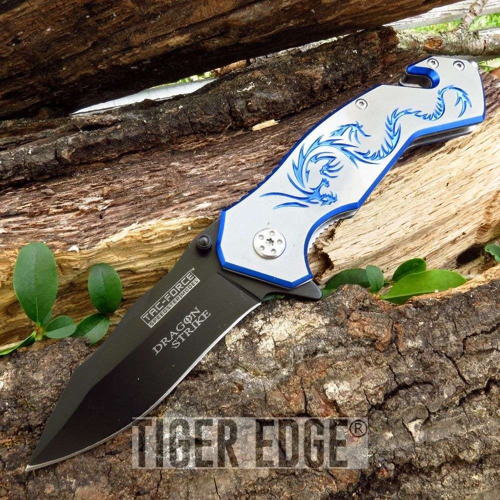 Tac-Force Blue And Silver Dragon Strike Spring Assisted Rescue Folding Knife