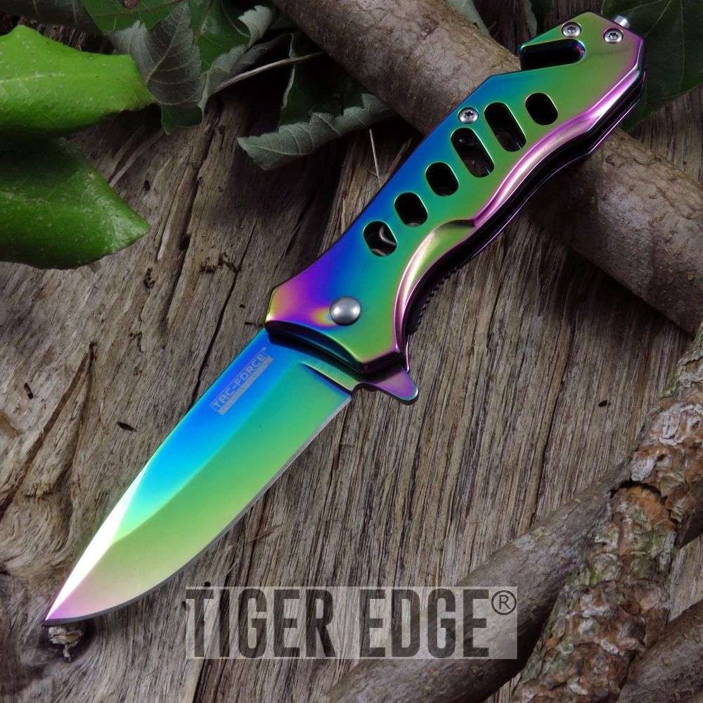 Tac-Force Bright Rainbow Rescue Knife Spring Assist Folding Blade Belt Cut