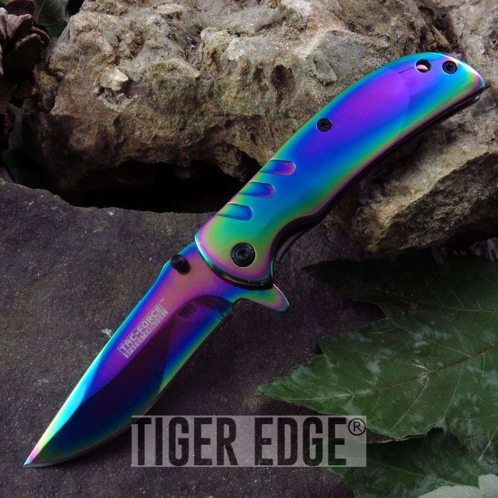 "Spring-Assist Folding Pocket Knife Tac Force 3.5"" Small Rainbow Tactical Edc"