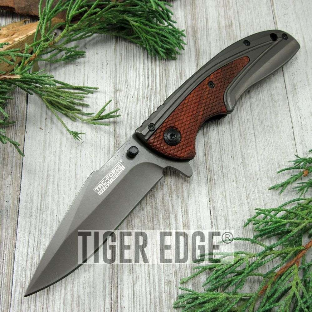 Spring-Assist Folding Pocket Knife Tac-Force Gray Blade Red Wood Tactical Tf-890
