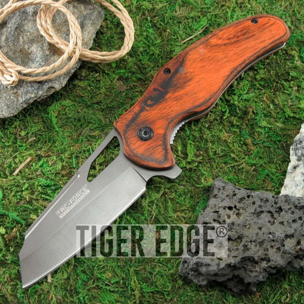 Spring Assisted Folding Pocket Knife Tac-Force Wood Gray Blade Cleaver Tactical