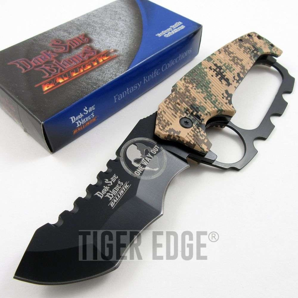 """One Way Out"" Digital Camo Spring-Assist Folding Knife W/ Knuckle Guard"