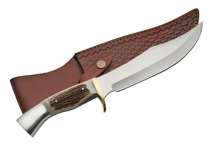 "13.5"" Iron Cougar Stag Bone Handle Hunting Bowie Knife W/ Leather Sheath"
