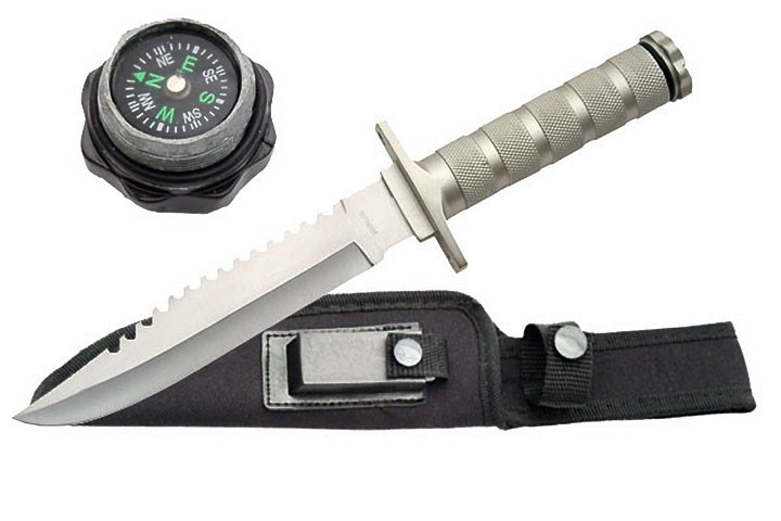 "12"" Silver Survival Knife w/ Sharpening Stone, Sheath, Survival Kit"