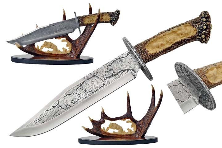 "15"" Bear Bowie Knife With Antler Display Father'S Day Gift Hunter Collection"