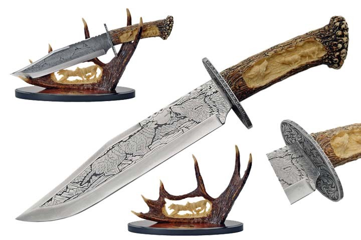 "15"" Wolf Bowie Knife With Antler Display Father'S Day Gift Hunter Collection"