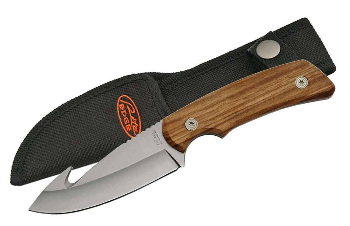 "Gut Hook Hunting Knife Stainless Steel Blade 8"" Overall Full Tang Wood + Sheath"