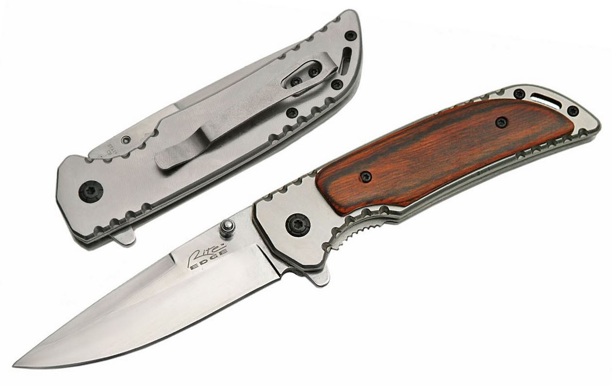 SPRING-ASSIST FOLDING KNIFE Wood Handle Stainless Steel Blade Hunter 300370-WD