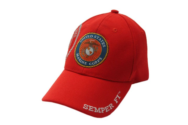 Red Usmc Marines Semper Fi Baseball Hat Cap - One Size Fits All